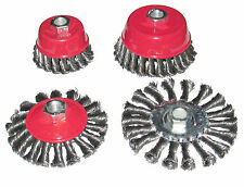 """ANGLE GRINDER TWIST KNOT ROUND WIRE CUP BRUSH & WHEEL SET FITS 115mm  4.5"""""""