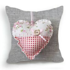 Retro Vintage Pink Flower Button Heart Gray Pillow Case Cushion Cover 18''