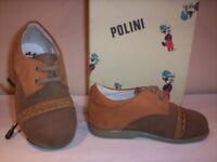 Scarpe scarpine Polini neonato bimbo shoe casual primi passi pelle marroni 20 21