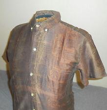 VTG 60s Penneys Young Gentry-Bronze Short Sleeve Shirt-Oxford-Hawaiian/Spooner-M