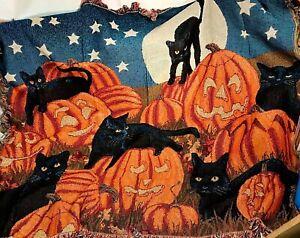 Halloween Black Cat Jack-O-Lantern Moon Woven Afghan Tapestry Blanket Throw RARE