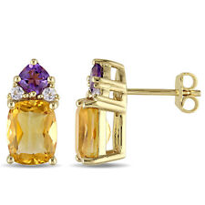 Amour Yellow Plated Silver Citrine, Amethyst and Topaz Stud Earrings