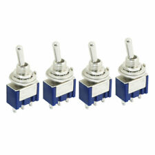4Pcs Blue Two Positions 3-Pin SPDT ON-ON Mini Toggle Switch 6A AC125V