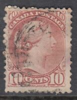 """Canada Scott #45  10 cent brown red """"Small Queen""""   F"""