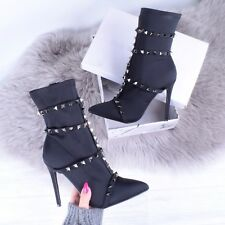 Womens Sock Fit Black Studded Stiletto Lycra Ankle Boot Ladies Party Shoe Size