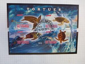 2013 CONGO MARINE LIFE- TURTLES 4 STAMP MINI SHEET CTO STAMPS
