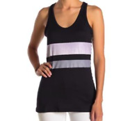 Poof! Women's Size Medium Tank Top Racerback Black White Striped NEW