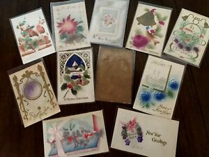 Lot of 11 Antique CHRISTMAS & NEW YEAR~AIRBRUSHED~  Vintage~~Postcards-c521