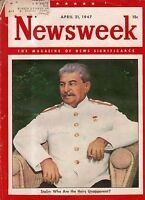 1947 Newsweek April 21 - Jackie Robinson arrives; Gandhi; Higgins TX; Henry Ford