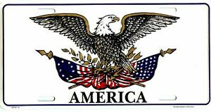 PATRIOTIC AMERICAN EAGLE USA FLAG EMBOSSED METAL LICENSE PLATE AUTO CAR TAG #522
