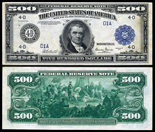 Nice Crisp Unc. 1918 $500 Federal Reserve Note Copy!