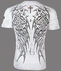 Archaic AFFLICTION Men T-Shirt SPIKE WINGS Cross WHITE Tattoo Biker MMA UFC $40