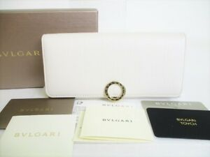 Auth BVLGARI White Agate Berry Tourmaline Leather Logo Clip Long Wallet #8672