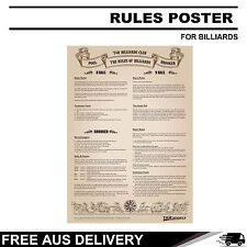 RULES POSTER POOL SNOOKER GAME ROOM TABLE FREE AUSTRALIA DELIVERY