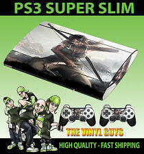 PLAYSTATION PS3 Super Slim LARA CROFT TOMB RAIDER SKIN ADESIVO & 2 X SKIN PER PAD