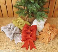 Set 4 Christmas Tree Decoration Glitter Glitzy Sparkling Ribbon Bows