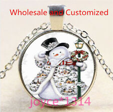 Vintage Christmas Cabochon Tibetan silver Glass Chain Pendant Necklace #5111