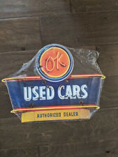 """16"""" NEON Used Cars 3d cutout retro USA STEEL plate display ad Sign"""