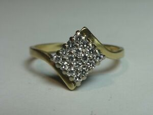 18CT YELLOW/WHITE GOLD 16 X DIAMOND SQUARE CROSSOVER RING