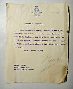 1916 MINISTERO DELL'ISTRUZIONE FIRMA MINISTRO P. GRIPPO - CERVO SAN BARTOLOMEO