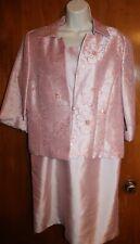 JESSICA HOWARD Sz 14 Petite 2-PIECE SUIT (light pink; shift dress w/ jacket) EUC