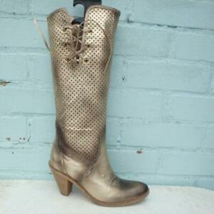 Aldo Leather Boots Size UK 4 Eur 37 Womens Shoes Pull on Gold Metallic Boots