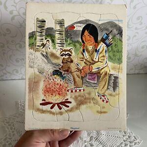 Vintage Playskool Golden Press Tray Puzzle , INDIANS   80-6D