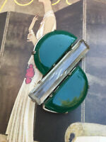 Antique Early Plastic Chrome & Green Galalith Buckle Art Deco