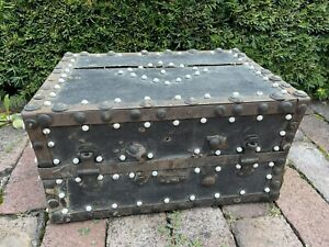 Antique Miniature Wooden Iron Clad Strong Box Travel Trunk Chest Porcelain Nail