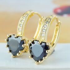 HOOP Gold Filled Earrings Shining Black Heart Shape Stone Women Lady A0073