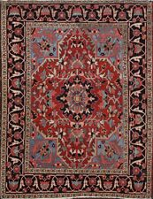 Antique Vegetable Dye Square Heriz Serapi Geometric Area Rug Hand-knotted 5x6 ft