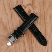 18/20/22mm Black Genuine Leather Watch Band Strap Butterfly Deployment Buckle