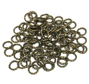 8mm twisted antiqued gold plated brass open jump rings 16 gauge