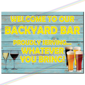 Metal Signs - BACKYARD BAR Funny Tin Sign Mancave Retro Wall Plaque Pub Vintage