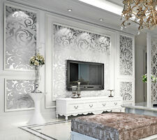 33ft /10M 3D Non-Woven Textured Art Deco Living room Silver gray Wallpaper Rolls