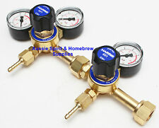 BRAND NEW Harris 601 Co2 Dual Outlet Regulator for Home Brew Beer Kegs