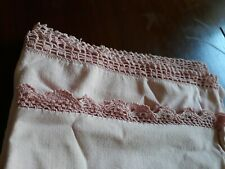 Pair Vintage Pink Cotton Pillowcases Crocheted crocheted edging