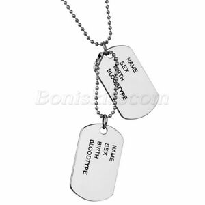 Men's Simple Army Military Alloy ID 2 Dog Tags Pendant Necklace Chain For Gift