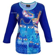 Laurel Burch Indigo Cat T Shirt 3/4 Sleeve Polyester Russian Blue MEDIUM New
