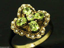 C104 Genuine 9ct SOLID Gold NATURAL Peridot & Pearl Blossom Ring made in yr size