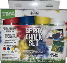 New! Testors Spray Chalk Set-Spray Play & It Washes Away! Assorted Colors Summer