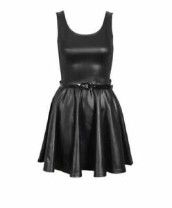 NEW WOMENS LADIES WET LOOK PU PVC FLARED BELTED SKATER PARTY DRESS PLUS SIZ 8-26