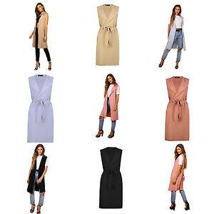 Womens Ladies Sleeveless Tie Belted Midi Duster Jacket, Cape, Cardigan