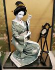Vintage Japanese Kyoto Oiran Courtesan Oyster Face Doll Looking In Mirror w Case