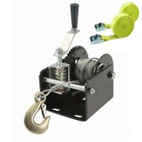 1 Ton 2000 Lb Capacity Worm Gear Hand Winch Boats Trailers + FREE Lashing Straps
