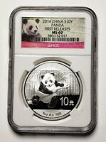2014 China Panda 10 Y 1 oz. 999 Silver Coin NCG MS69 First Releases