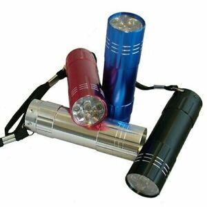 MINI ULTRA BRIGHT ALUMINIUM 9 LED POCKET LIGHT FLASHLIGHT CAMPING TORCH