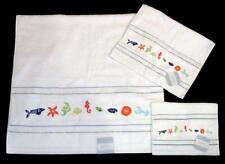 3 KASSAFINA Embroidered SEAHORSES SHELLS FISH LOBSTER Bath Hand Fingertip Towels