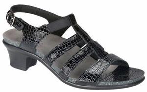 SAS Womens Tripad Comfort Allegro Black Patent Snake Print Sandal Heel 6.5