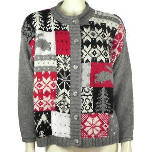 Vintage 90s Eddie Bauer Womens Petite M 100% Wool Cardigan Sweater Rabbits Trees